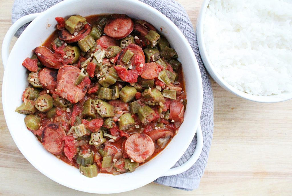 Okra and Tomatoes with Sausage